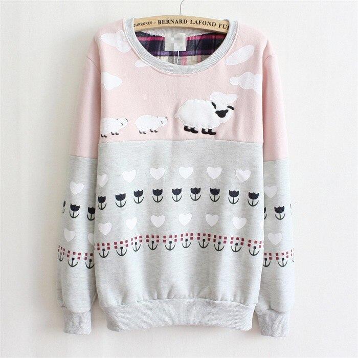Новинка, Женский пуловер с милой овечкой, с вышивкой, толстый флис внутри, теплые толстовки, розовый и серый цвета, разноцветные толстовки для женщин