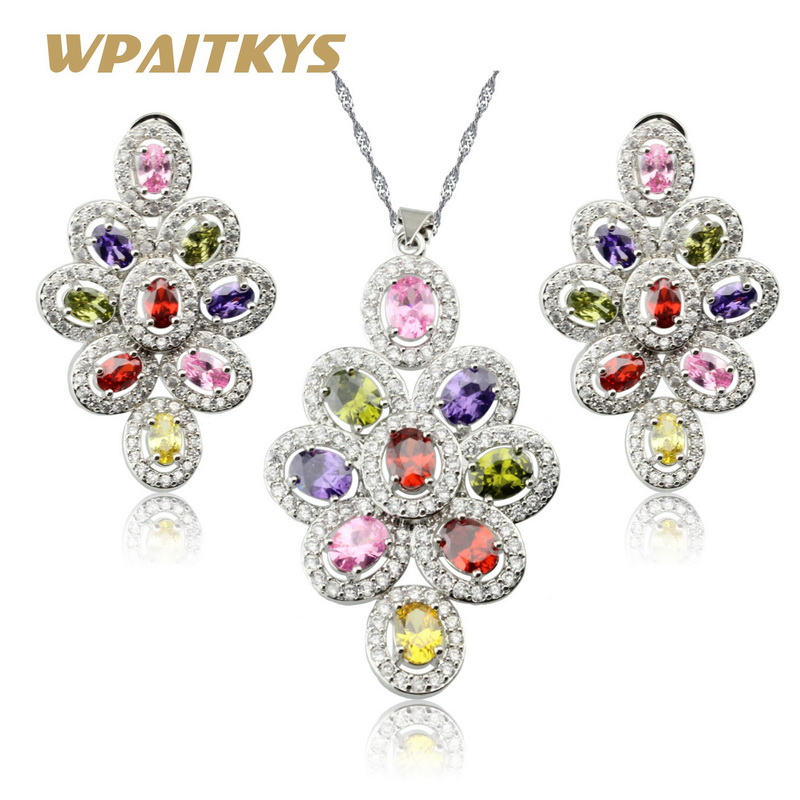 WPAITKYS Flower Multicolor Pink White Zirconia Silver Color Jewelry Sets For Women Earrings/Necklace Pendant Free Gift Box WPAITKYS Flower Multicolor Pink White Zirconia Silver Color Jewelry Sets For Women Earrings/Necklace Pendant Free Gift Box