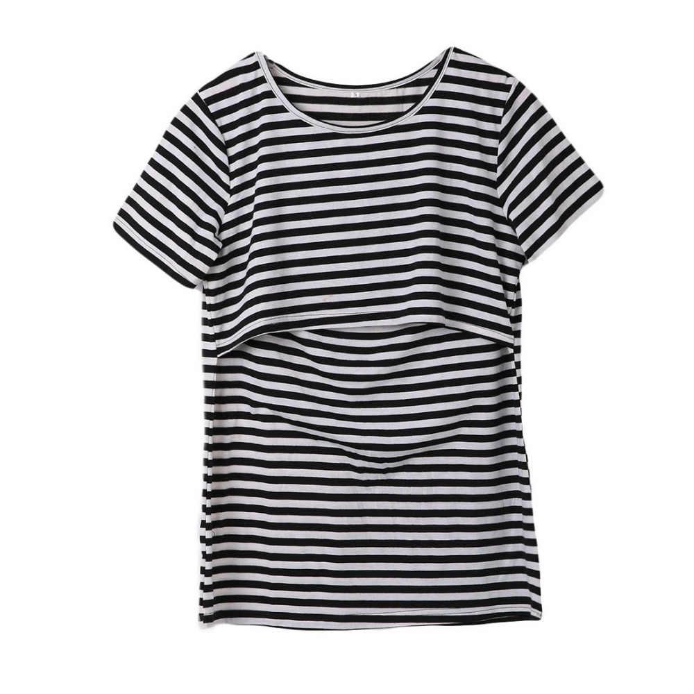 2018 ฤดูร้อนลายคลอดบุตรพยาบาลเสื้อยืดผู้หญิงเสื้อผ้าสำหรับสตรีตั้งครรภ์ Tees พยาบาลการตั้งครรภ์เสื้อยืด