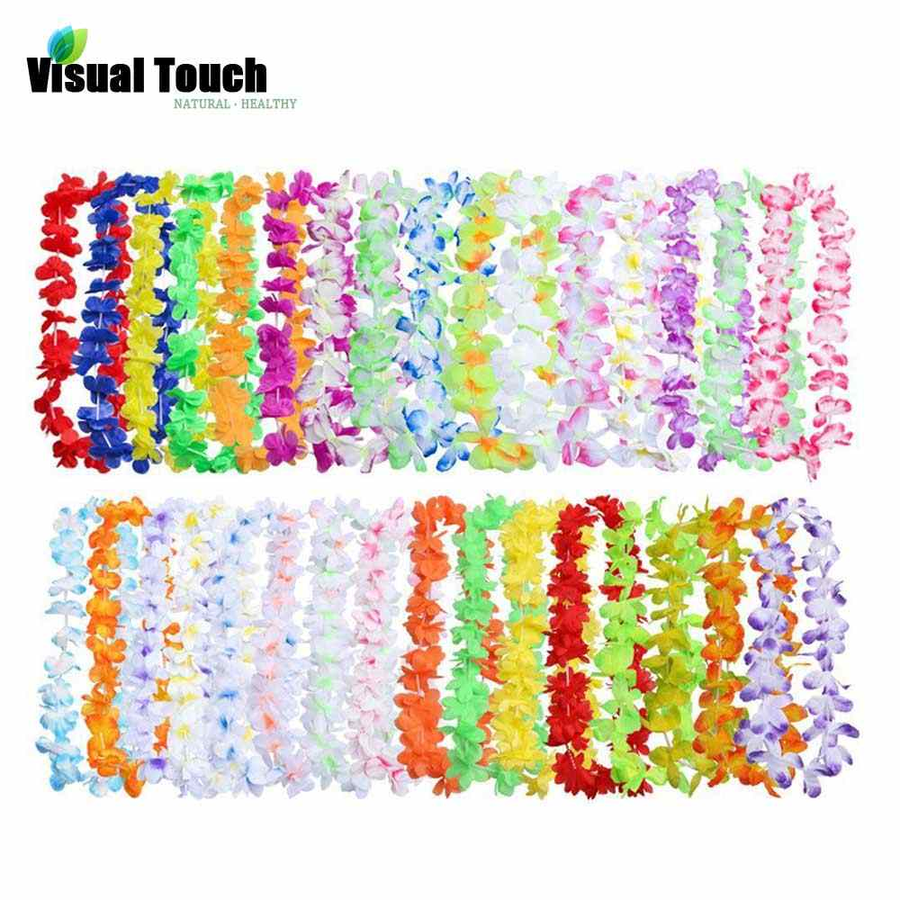 Visual Touch 50PCS/Lots Set Hawaiian Leis Necklace Wreaths Flower Garland Tropical Luau Party Favors Beach Hula Costume