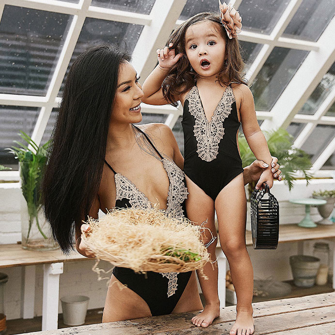 PopReal Fashion Mommy And Me clothes Lace Patchwork Backless One Piece Matching Swimsuit Mom Girls Matching Outfits ...