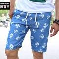 Homens Placa Praia Cópia Do Crânio Shorts Jeans Venda Quente Elástico Na Cintura Verão Calças Curtas Masculinas de marca Homme