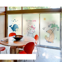 Cartoon frosted Static window film office bathroom washroom sliding door sticker glass transparent opaque