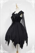 Асимметричное готическое платье лолиты балетный дух короткое платье АО с кружевной накидкой Soufflesong