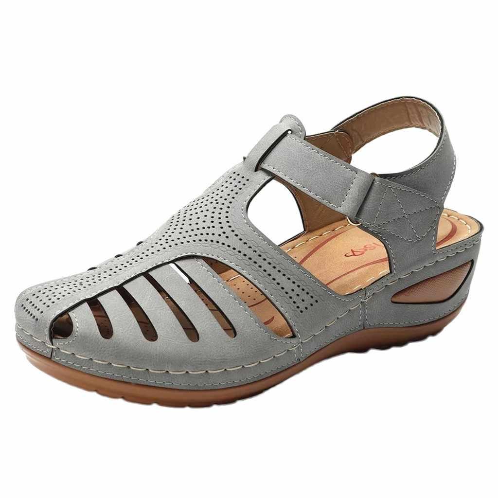 รองเท้าสตรีรองเท้าสุภาพสตรีรองเท้าแตะสบายข้อเท้า Hollow รอบ Toe รองเท้าแตะแบนนุ่มเข็มขัดหัวเข็มขัดรองเท้า Sandalia Feminina