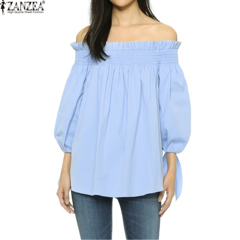 Plus Size Vrouwen Blusas Sexy ZANZEA 2018 Off Shoulder Slash Hals Blouse Shirts Casual Boog Check Gestreepte Tops Dames Vestido S-3XL