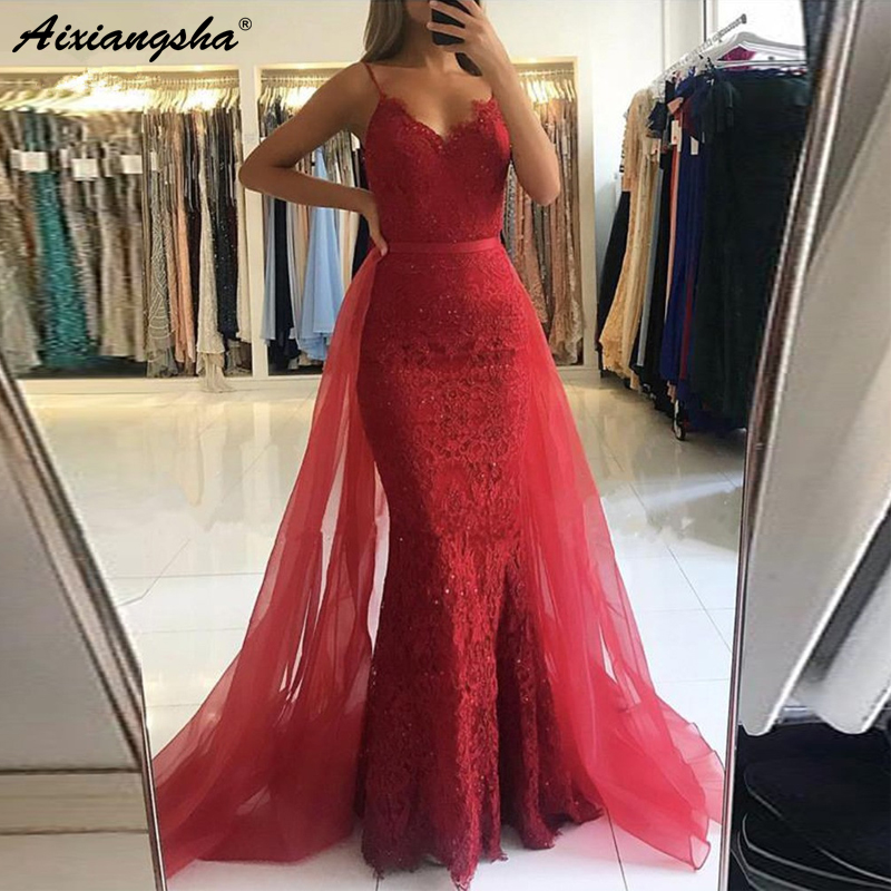 Red Muslim   Evening     Dresses   2018 Spaghetti Straps Tulle Train Lace Beaded Mermaid Formal   Dress   Long Elegant   Evening   Gown