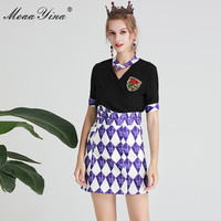 MoaaYina Fashion Designer Set Spring Summer Women Rose Embroidery Sequin Black Tops+Plaid Short skirt Two piece suit