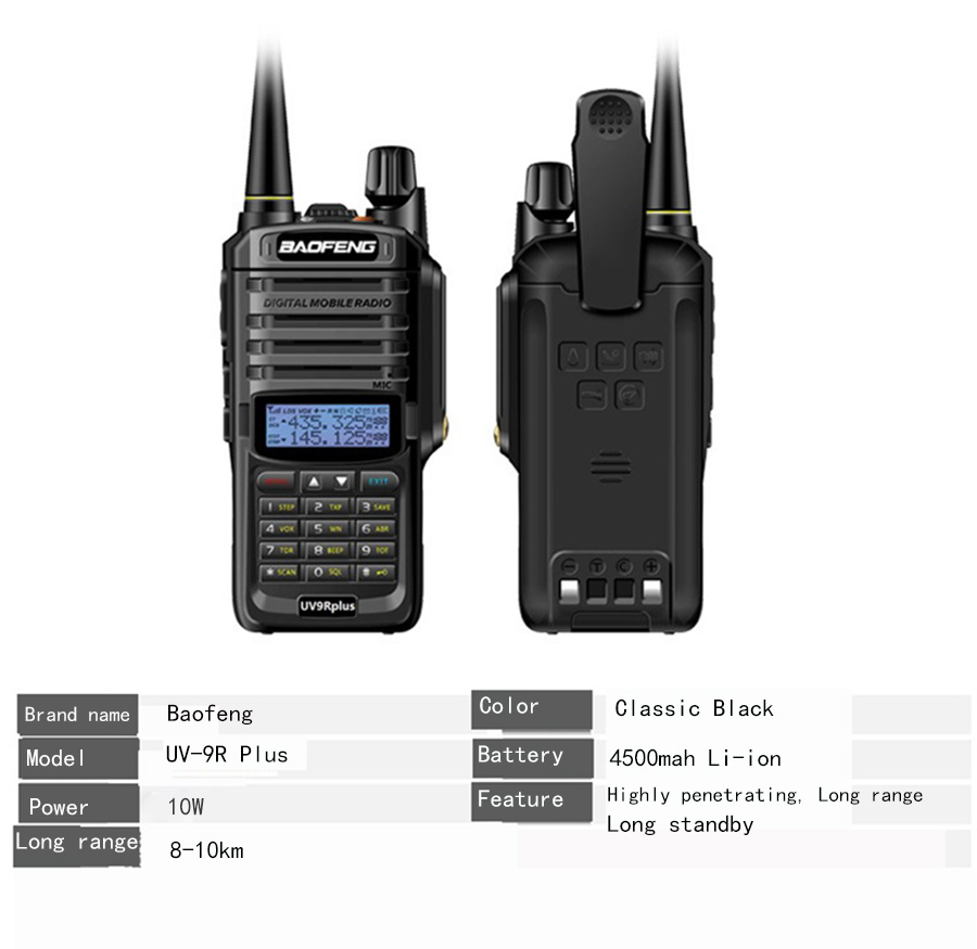 Baofeng UV-9R Plus Handheld Walkie Talkie 8W 2800mAh Dual Band IP67 Waterproof Two Way Radio hf Transceiver UV 9R camping (12)