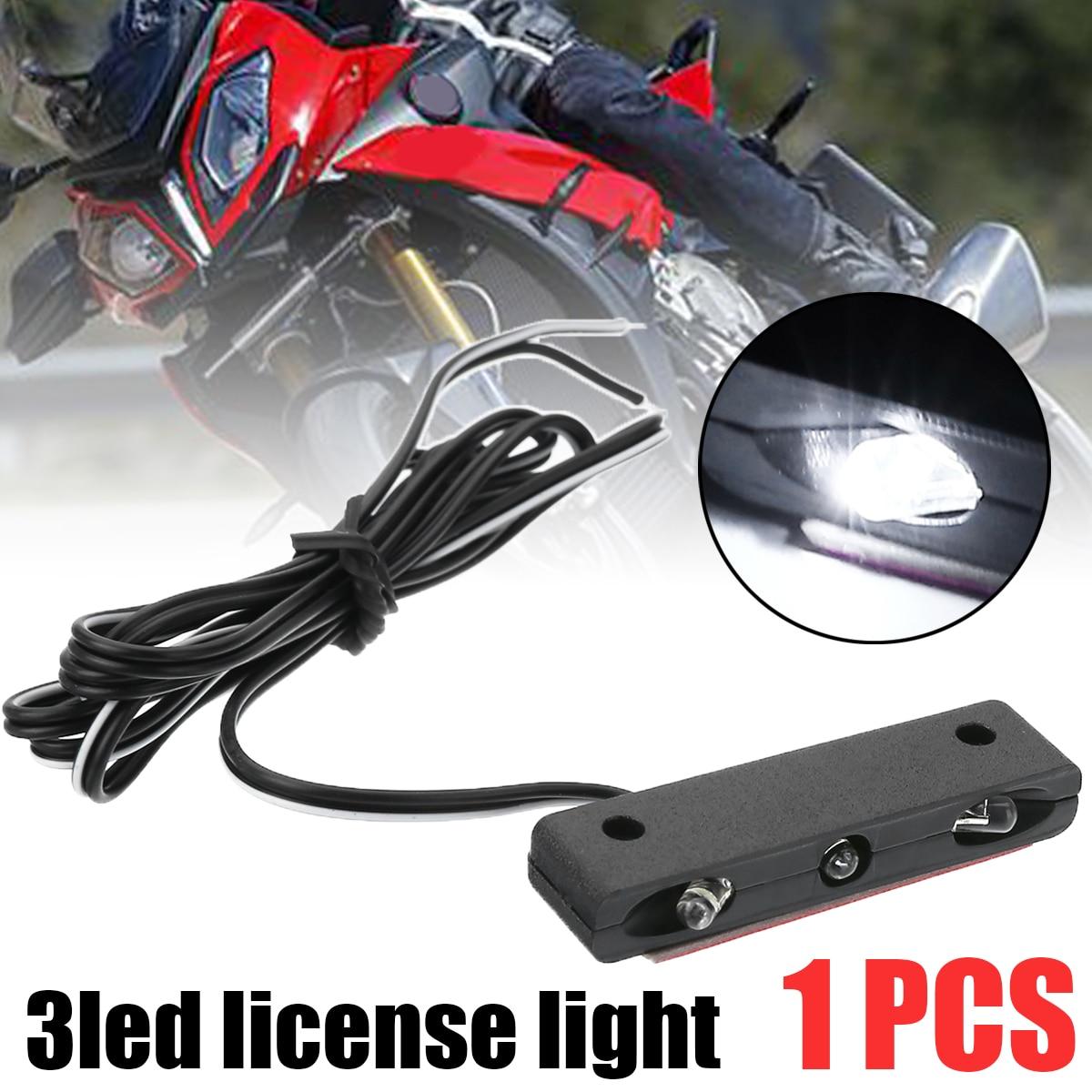 White Light 12V High Brightness 3-LED Motorcycle License Plate Light