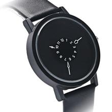 Nueva Moda Reloj de Pulsera de Los Hombres Minimalista Reloj de la Placa Giratoria Dial Completo Negro Correa de Cuero Casual Relojes Deportivos Regalos