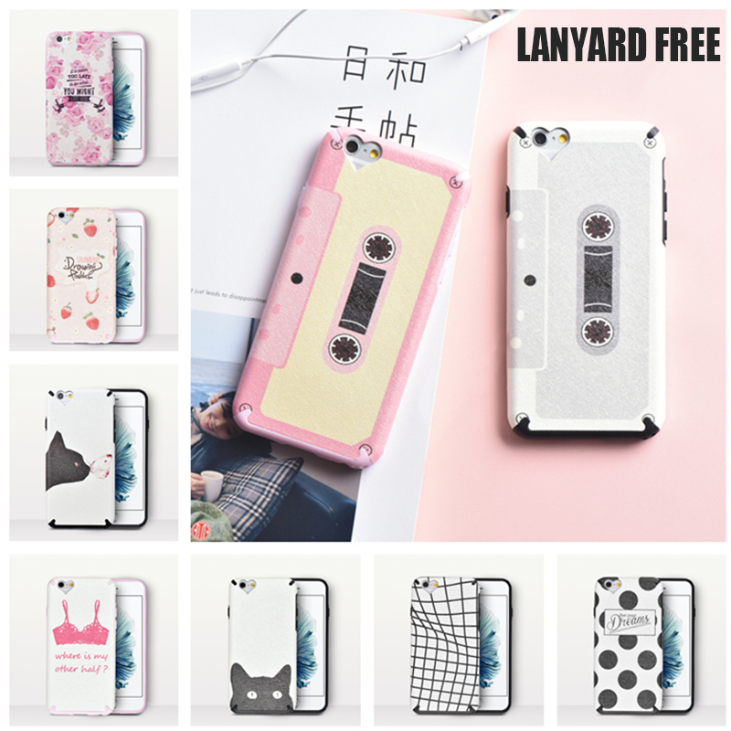 Funny Cassette Floral Cat Dot Pattern Back Cover Soft Silicone Fundas Fashion Case With Lanyard Strap Coque For iPhone 6 6S Plus
