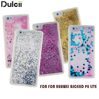 Dulcii for Huawei P8 Lite TPU Cases Floating Glitter Sequins Soft Gel TPU Phone Shell for Huawei Ascend P 8 Lite Phone Cover Bag