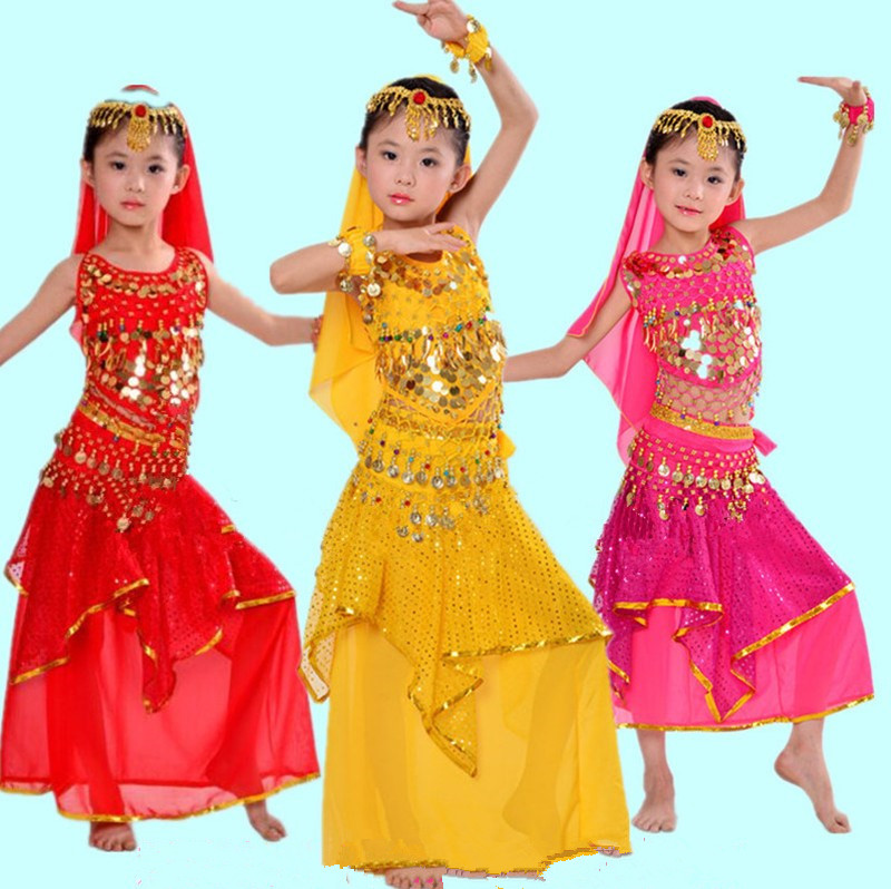 Cheap Prices 7 Piece Set Sequin girls Belly dance Indian Kids Dress Bollywood Belly Dance Costumes skirt or pants 2 kind