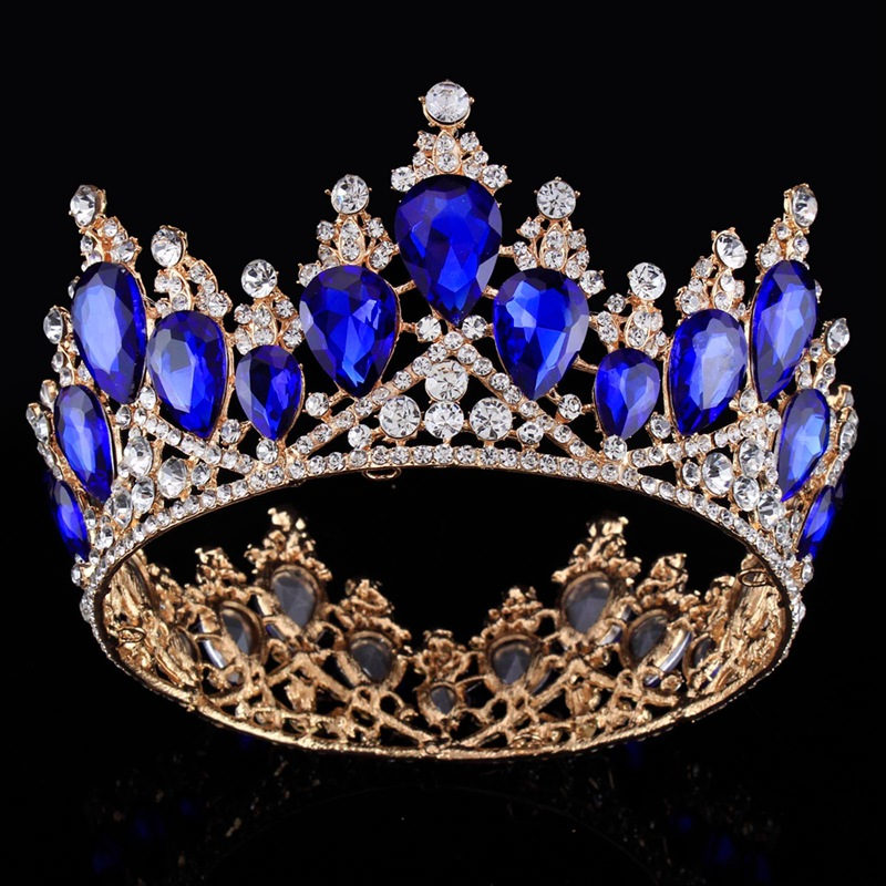 Royal Blue Crystal Bride Tiara Crown Princess Headpiece Bridal Hair Accessories Wedding Prom Party Big Crowns Hairband Headdress baby hairband crystal tiara hairband kid girl bridal princess prom crown party accessiories princess prom crown headband