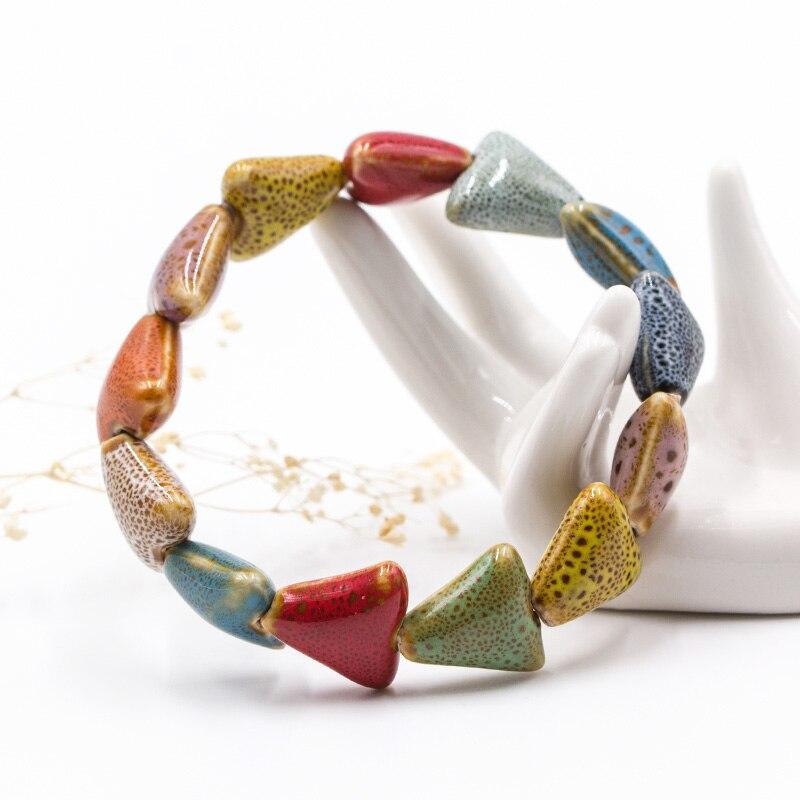 LNRRABC Unique Beads Heart Shaped Bone Ceramics Ceramic stone Elastic Drop Handmade Round Viviparidae Gifts Bracelet Men