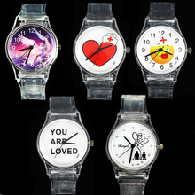Angel LOVE / Heart Cap Red Cross / Smile Nurse Doctors / YOU ARE LOVED / Fashion Gift Watches Transparent Lovers Wrist Watch