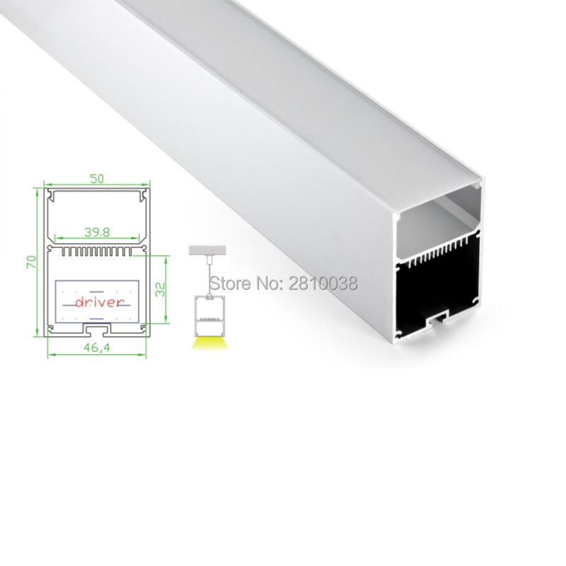 10 X 2M Sets/Lot U Led aluminium extrusion channel profiles with light diffuser strip Cover for pendant or suspension lights 1 piece light grey aluminum extrusion profiles heatsink wall mounted distribution case 24x80x90mm