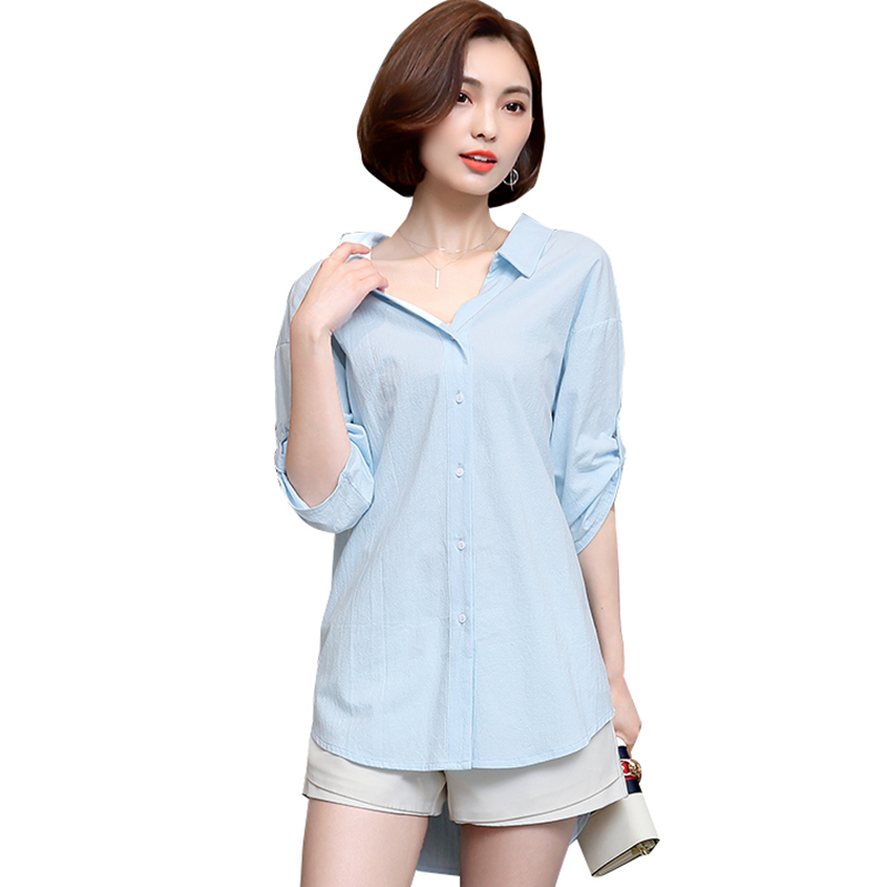 Long Style Women Blouses Summer Cotton Blouse Shirt Iron Ring Decorated Loose Ladies Blouse Plus Size
