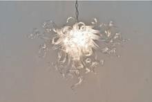 Modern Clear Glass Chandelier Hand Blown Chihuly Style Chain Lighting