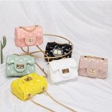 새로운 도착 여자 여름 미니 PVC 젤리 가방 성인과 어린이 모두에 적합 여성 크로스 바디 체인 가방 아기 키즈 지갑