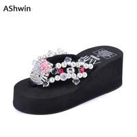 Cute Kitty Thong Slippers Full Rhienstiones Shiny Beach Shoes Women Flip Flops Glittering Wedge Sandals Woman