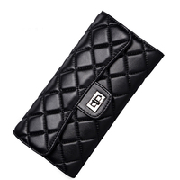 Black Sheepskin Women Wallet Fashion Genuine Leather Ladies Long Clutch Bags Brand Styles Purse Card Holder