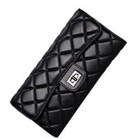Black sheepskin women wallet fashion genuine leather ladies long clutch bags brand styles purse card holder birthday party gift