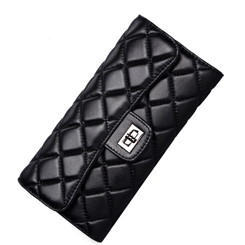 Black sheepskin women wallet fashion genuine leather ladies long clutch bags  brand styles purse card holder birthday party gift c45ce17c26f0b
