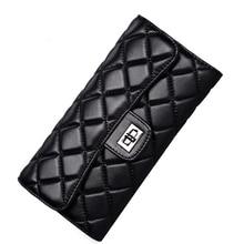 Schwarz schaffell frauen brieftasche fashion echtes leder damen lange kupplung taschen marke stile geldbörse kartenhalter geburtstagsfeier geschenk