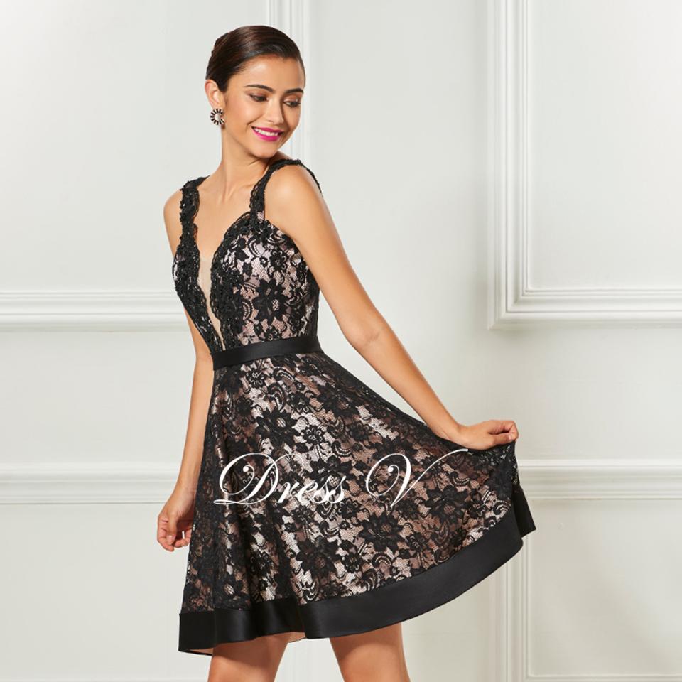 Dressv black strap a line cocktail dress knee length sashes elegant ...