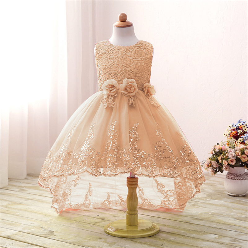 Summer New Girls Dress Fashion Girls Sleeveless High Low Wedding Dress Kids Sequins Tails Clothing Children Handmade Clothes рамка favorit на 1 пост бронзовый wl01 frame 01 werkel 1209837