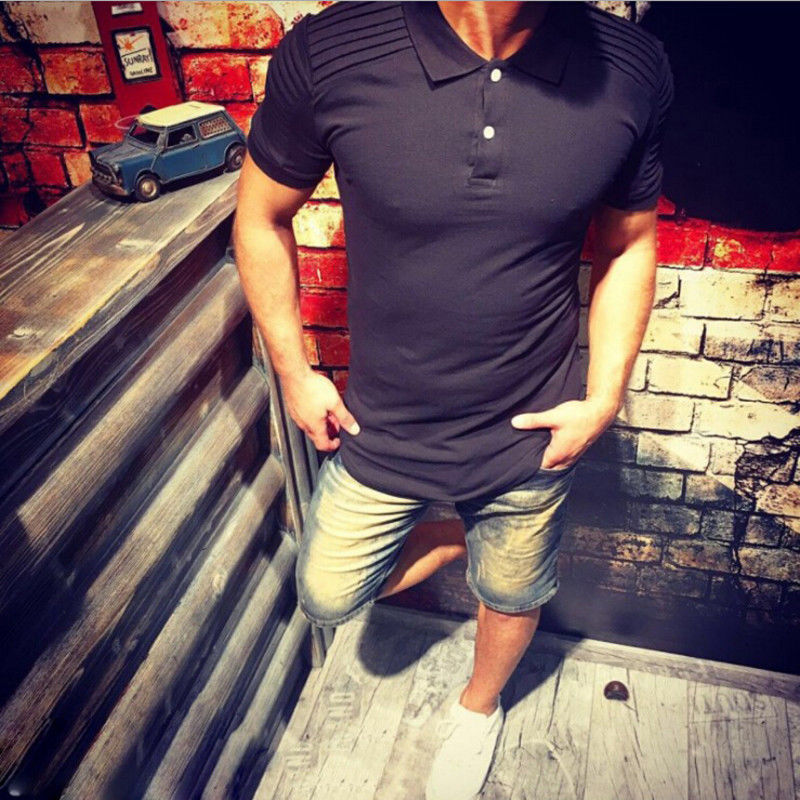 New Men Summer Short Sleeve Pleated   polo   shirts Men casualpolo collar solid Cotton Tops tees Male clothes tees