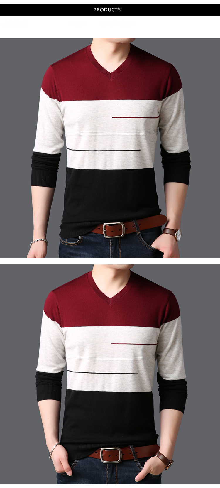 1fe581362 2019 2018 New Fashion Brand Sweaters Mens Pullovers V Neck Slim Fit ...