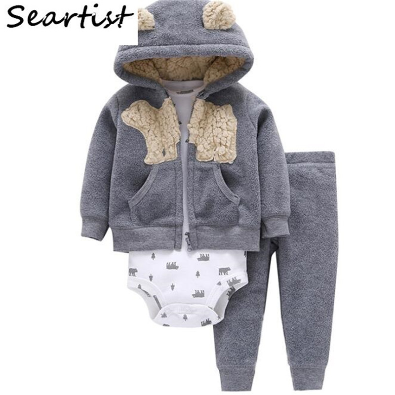 Seartist Baby Boy Clothes Newborn 3Pcs Clothing Set Autumn Hoodies+Romper+Pants Boys Out ...