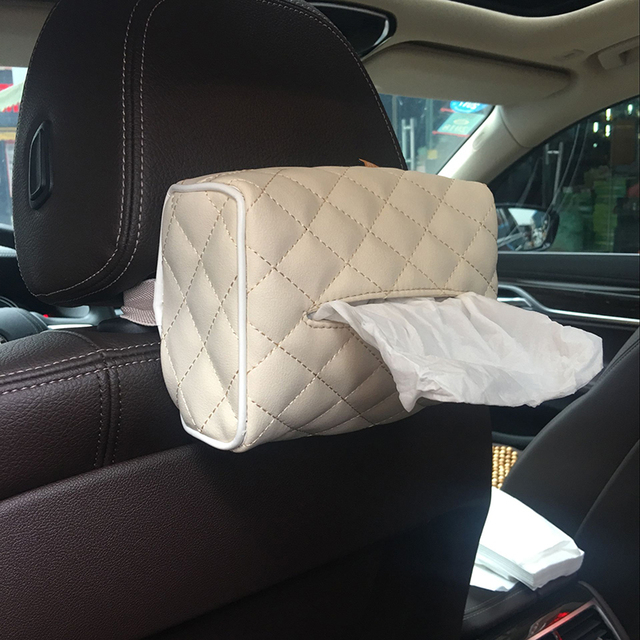 2017 New Real Car Leather Tissue Boite Pour Tissus Auto Car-styling Pu Tissue Box Sun Visor Type Block Armrest Auto Accessories