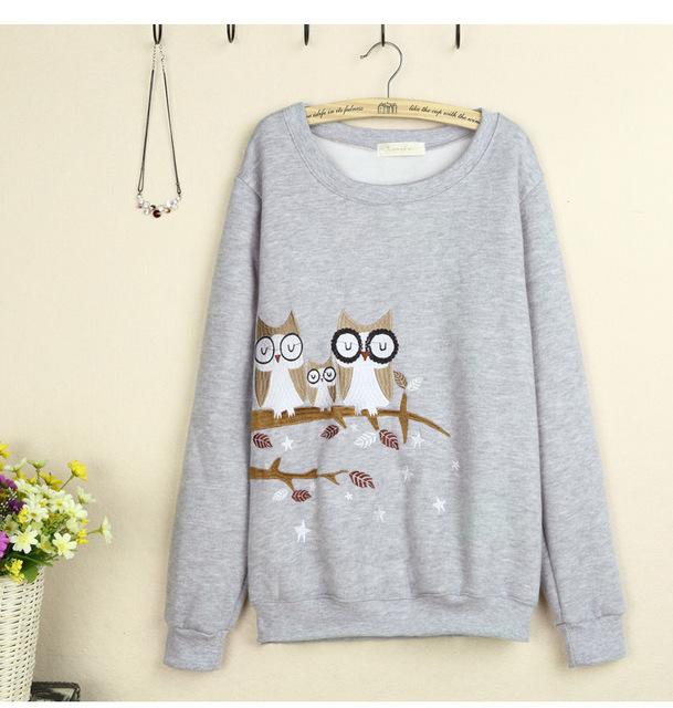 2016 outono sen linha feminina pequeno doce e adorável owl bordado songane ampla veludo de algodão o-pescoço pulôver das camisolas das mulheres