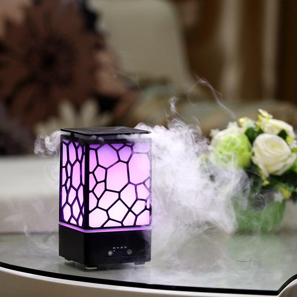 Nouveauté LED lumière 2018 Cube d'eau 200 ml Air arôme diffuseur d'huile essentielle LED atmosphère Spa parfum nébuliseur lampes colorées