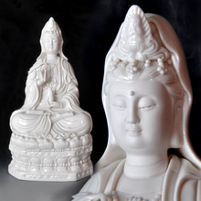 Dehua porcelain Guanyin Buddha sitting on a lotus flower ornaments white Bodhisattva Feng Shui Characters
