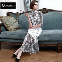 QUEENTOR 2017 Brand Vestidos De Fiesta Autumn High End Chinese Style Elegant Ladies Maxi Split Cheongsam