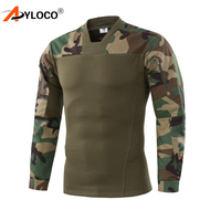 AYLOCO Men Army Tactical T shirt SWAT Soldiers Military Combat T Shirt Long Sleeve Camouflage Shirts Paintball T Shirts
