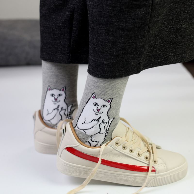 Unisex Couples Autumn Harajuku Trick Long Crew   Socks   Funny Spoof Cartoon Middle Finger Bad Cat Letters Printed Cotton Hosiery