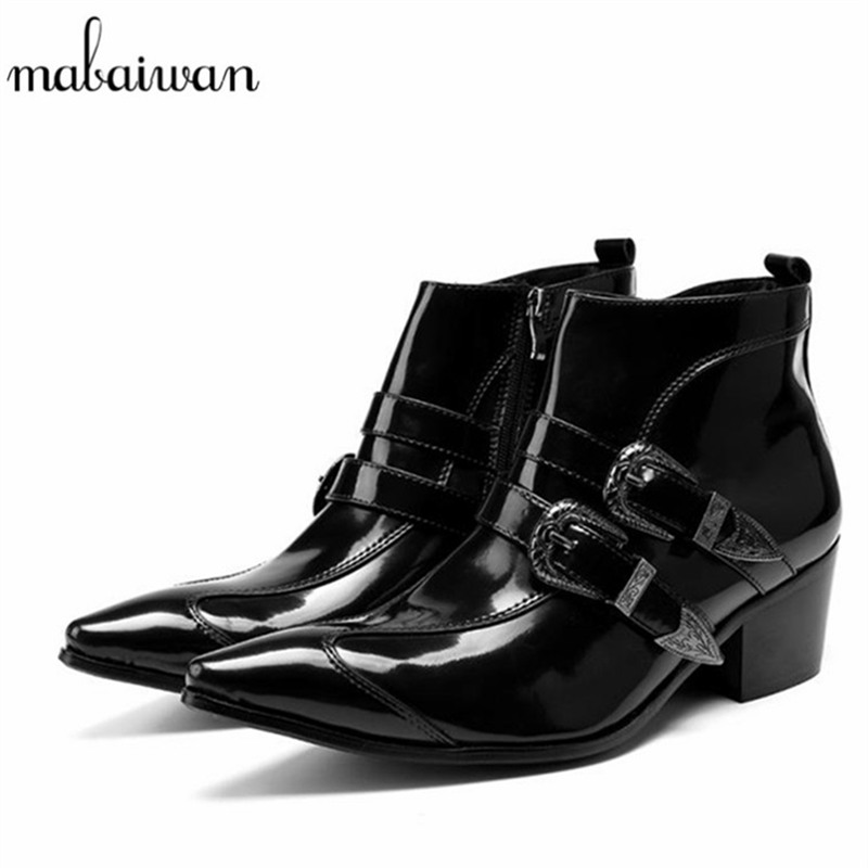 Mabaiwan Fashion Black Men Ankle Boots Pointed Toe Lace Up Wedding Dress Shoes Men Military Boots Mans Footwear Zapatos Hombre mabaiwan handsome genuine leather men ankle boots metal pointed toe lace up mens oxford shoes cowboy boots high top botas hombre