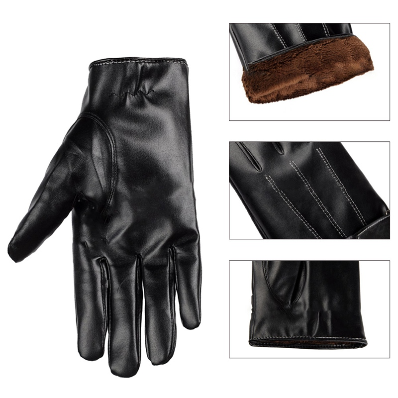 2018 Mens Luxurious PU Leather Winter Super Driving Warm