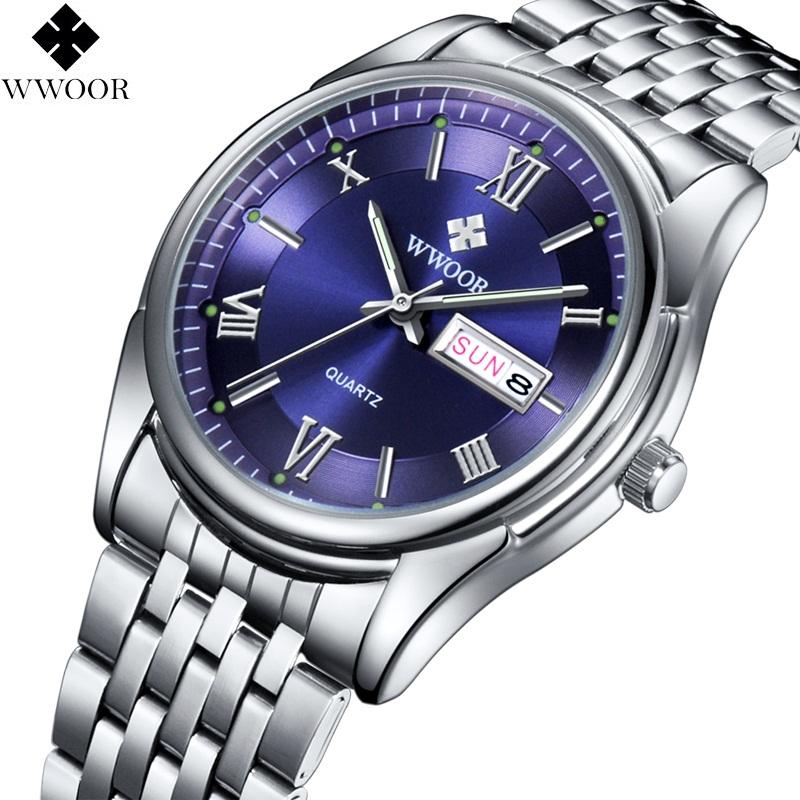 Casual WWOOR Top Brand Luxury Mens Business Watches Full Steel Waterproof Men Quartz Wrist Watch Male Clock relogio masculino full steel mens watches top brand luxury quartz watch men clock male 50m water sports men wrist watch 2017 relogio masculino