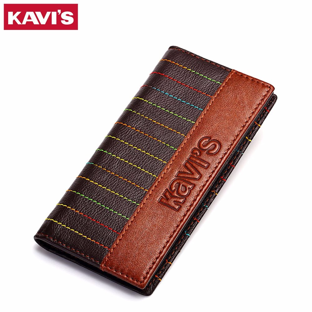 KAVIS Genuine Leather Men Wallets Long Luxury Brand New Arrival Mens Clutch Purse Wallet Cowhide Leather Man Day Clutches Bag 2017 luxury brand men genuine leather wallet top leather men wallets clutch plaid leather purse carteira masculina phone bag