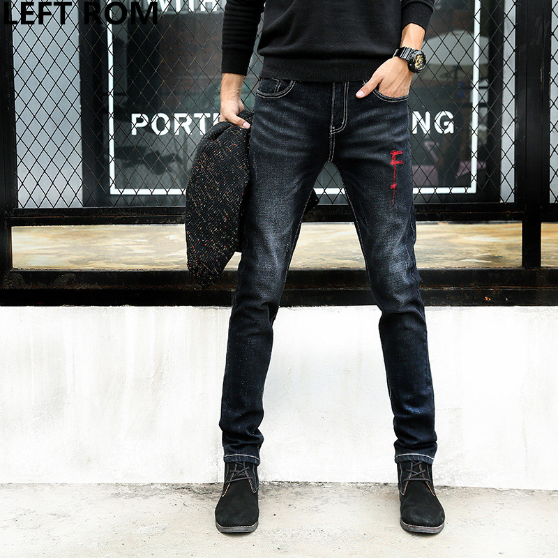 LEFT ROM 2017 New Fashion Mens Casual Stretch Skinny Jeans Trousers Tight Pants Solid Colors/male premium brand jeans 27-36