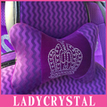Ladycrystal Diamond Car Neck Pillow Auto Headrest Pillow Space Silk Cotton Car Seat Cover Cushion Car Styling Purple Gold Black