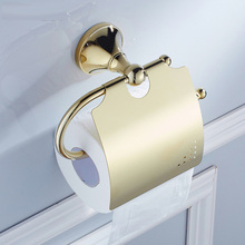 High Quality Brass Wall Mounted Golden Bathroom Toilet Paper Roll Holder Toilet Paper Tissue Towel Rack ZD871 недорого