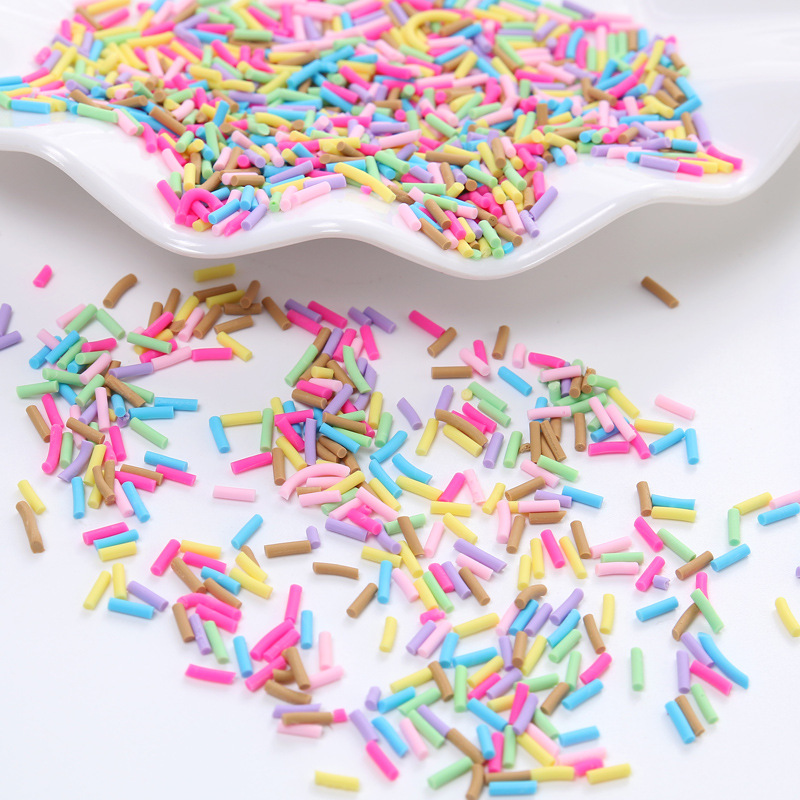 50g/lot Fimo Slices Sprinkles Cake Decoration For Slime DIY Fake Candy Dessert Toys Fluffy Slimes Supplies Mud Clay Charms 5mm